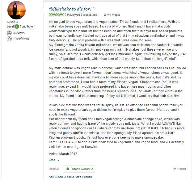 Trip Advisor review of a vegan and vegetarian cafe