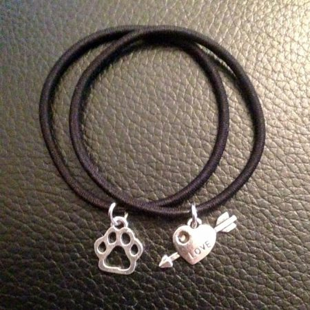 """Love ""Animals"" Charms on Double Black Wrist Bands"