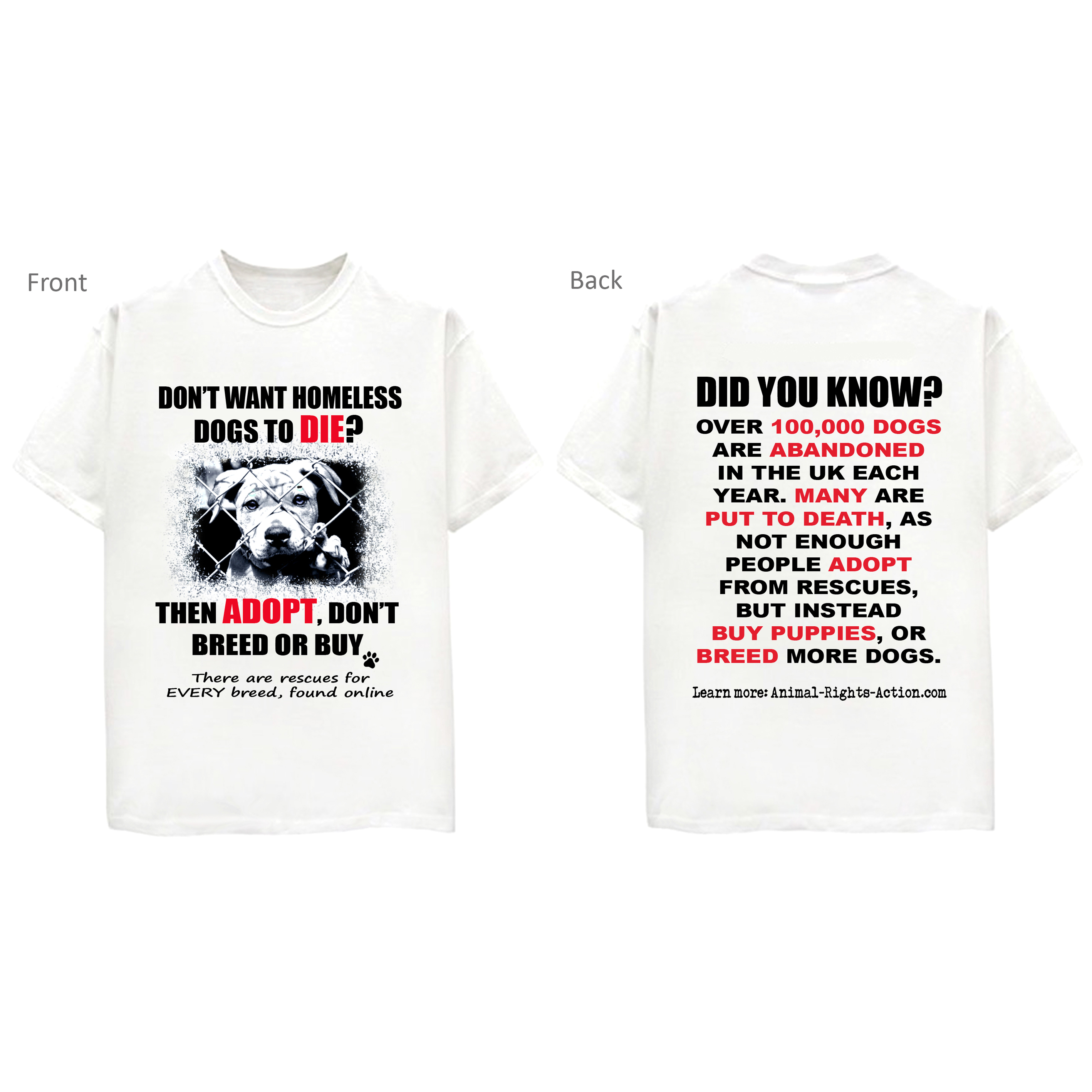 """e8c378d74776 """"Adopt, Don't Breed Or Buy"""" Animal Rescue T-shirt"""