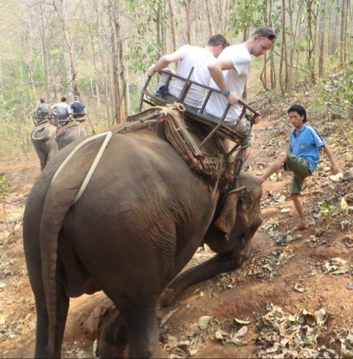 Scott Sanders having elephant ride